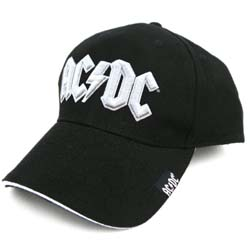 AC/DC Men's Baseball Cap: White Logo with High Embossed Application