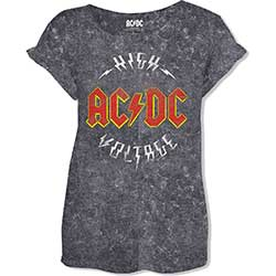 AC/DC Ladies Fashion Tee: Logo High Voltage with Acid Wash Finish