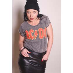 AC/DC Ladies Fashion Tee: Classic Logo with Acid Wash Finish
