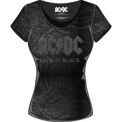 AC/DC Ladies Fashion Tee: Back in Black with Acid Wash Finish