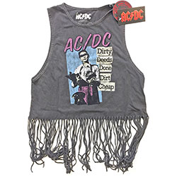 AC/DC Ladies Tee Vest: Dirty Deeds Done Dirt Cheap with Tassels