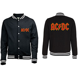 AC/DC Men's Varsity Jacket: Classic Logo with Back Printing
