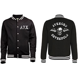 Avenged Sevenfold Men's Varsity Jacket: Death Bat with Back Printing