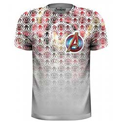 Marvel Comics Men's Tee: Avengers Icons Pattern Pocket Logo with Sublimation Printing
