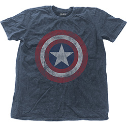 Marvel Comics Men's Fashion Tee: Avengers Assemble Cap with Snow Wash Finishing