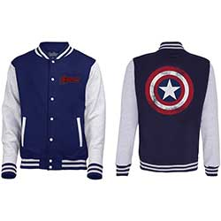 Marvel Comics Men's Varsity Jacket: Avengers Assemble Distressed Shield with Back Printing