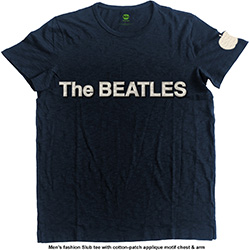 The Beatles Men's Fashion Tee: Logo & Apple with Applique Motifs