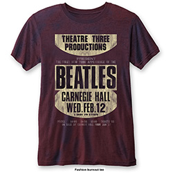 The Beatles Men's Fashion Tee: Carnegie Hall with Burn Out Finishing
