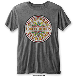 The Beatles Men's Fashion Tee: Sgt Pepper Drum with Burn Out Finishing