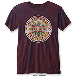 The Beatles Men's Fashion Tee: Sgt Pepper Drum (Burn Out)