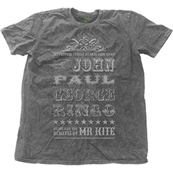 The Beatles Men's Fashion Tee: Mr Kite with Snow Wash Finishing