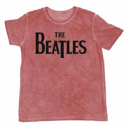 The Beatles Men's Fashion Tee: Drop T Logo with Burn Out and Flocked Finishing