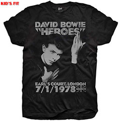 David Bowie Kids Youth's Fit Tee: Heroes Earls Court
