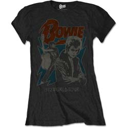 David Bowie Ladies Premium Tee: 1972 World Tour
