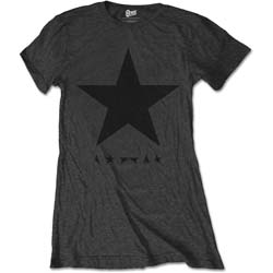 David Bowie Ladies Premium Tee: Blackstar (on Grey)