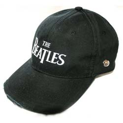 The Beatles Men's Baseball Cap: Drop T Logo with Distressed Printing and Embroidery