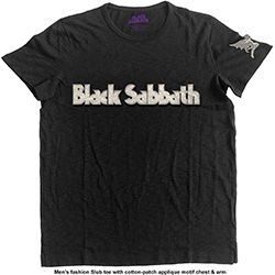 Black Sabbath Men's Fashion Tee: Logo & Daemon with Applique Motifs