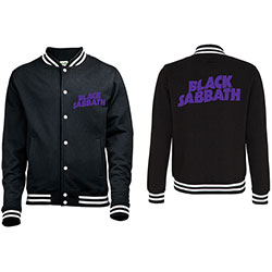 Black Sabbath Men's Varsity Jacket: Wavy Logo with Back Printing