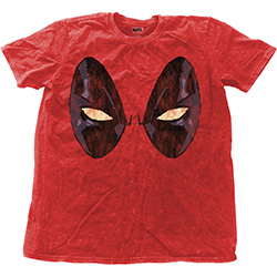 Marvel Comics Men's Fashion Tee: Deadpool Eyes with Snow Wash Finishing