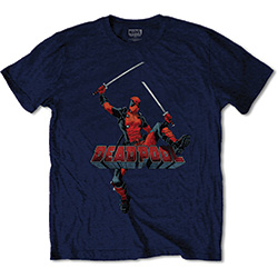 Marvel Comics Men's Tee: Deadpool Logo Jump