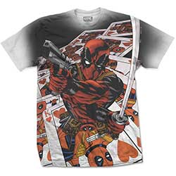 Marvel Comics Men's Tee: Deadpool Cards with Sublimation Printing