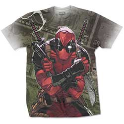 Marvel Comics Men's Tee: Deadpool Cash with Sublimation Printing
