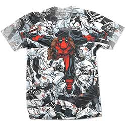 Marvel Comics Men's Tee: Deadpool Leap with Sublimation Printing