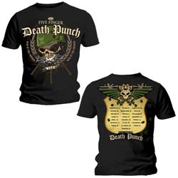 Five Finger Death Punch Men's Tee: War Head with Back Printing