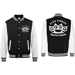 Five Finger Death Punch Men's Varsity Jacket: Knuckleduster with Back Printing