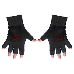 Slayer Men's Fingerless Gloves: Scratched Logo