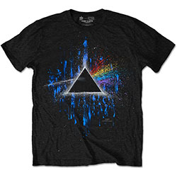 Pink Floyd Men's Tee: Dark Side of the Moon Blue Splatter
