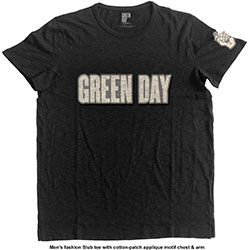 Green Day Men's Fashion Tee: Logo & Grenade with Applique Motifs