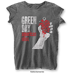 Green Day Ladies Fashion Tee: American Idiot Vintage with Burn Out Finishing