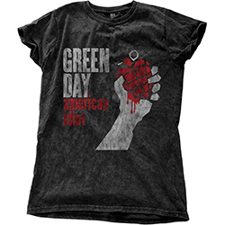 Green Day Ladies Fashion Tee: American Idiot Vintage with Snow Wash Finishing