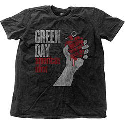 Green Day Men's Fashion Tee: American Idiot Vintage with Snow Wash Finishing
