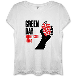 Green Day Ladies Fashion Tee: American Idiot with Skinny Fitting