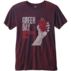Green Day Men's Fashion Tee: American Idiot with Burn Out Finishing
