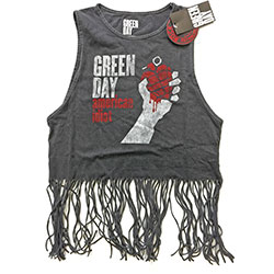 Green Day Ladies Tee Vest: American Idiot Vintage with Tassels