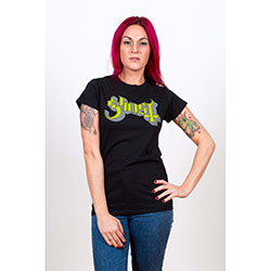 Ghost Ladies Tee: Green/Grey Keyline Logo with Skinny Fitting