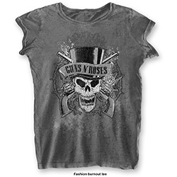 Guns N' Roses Ladies Fashion Tee: Faded Skull with Burn Out Finishing