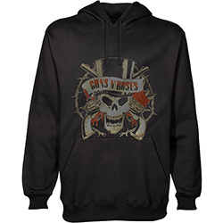 Guns N' Roses Men's Pullover Hoodie: Distressed Skull