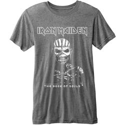 Iron Maiden Men's Fashion Tee: The Book of Souls with Burn Out Finishing