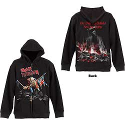 Iron Maiden Men's Zipped Hoodie: Scuffed Trooper with Back Printing
