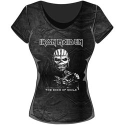 Iron Maiden Ladies Fashion Tee: The Book of Souls with Acid Wash Finish