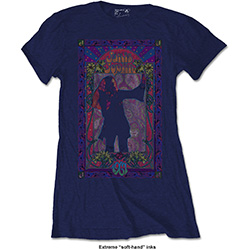 Janis Joplin Ladies Fashion Tee: Paisley & Flowers Frame with Soft Hand Inks