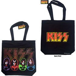 KISS Cotton Tote Bag: Faces & Logo (with zip top)