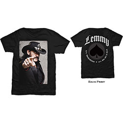 Lemmy Men's Tee: Pointing Photo with Back Printing