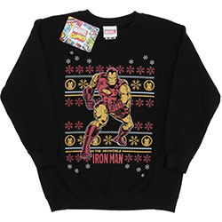 Marvel Comics Kids Boy's Fit Sweatshirt: Iron Man Fair Isle Christmas