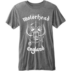 Motorhead Men's Fashion Tee: England with Burn Out Finishing