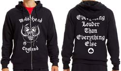 Motorhead Men's Zipped Hoodie: England with Back Printing